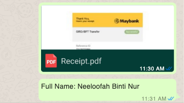Screenshot of WhatsApp message showing a Receipt.pdf file sent along with the full name: Neeloofah Binti Nur.
